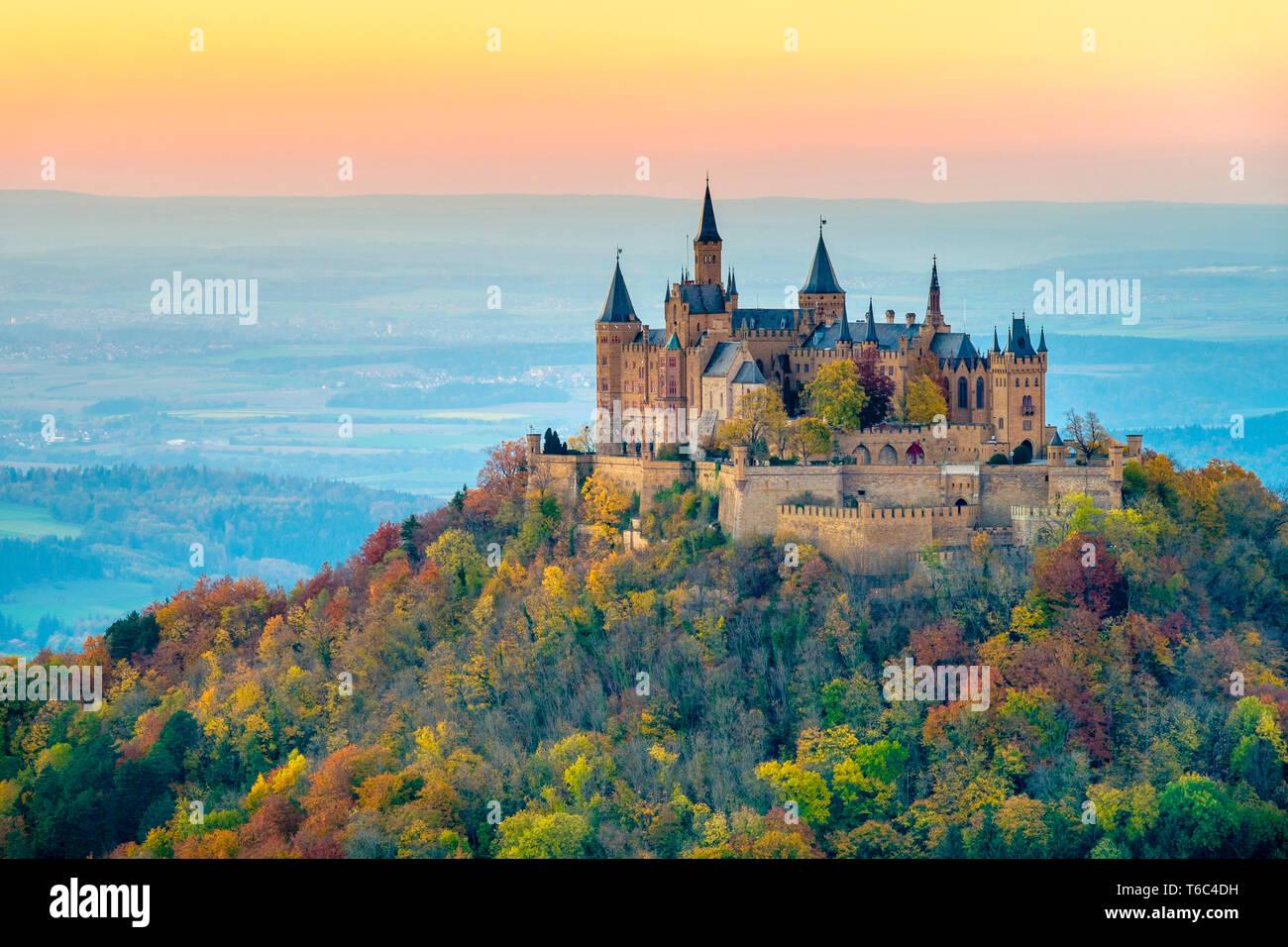 Burg Hohenzollern Castle At Sunset Bisingen Baden Wa Rttemberg Germany Stock Photo Alamy