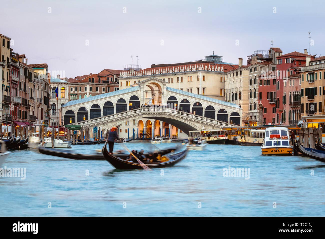 Rialto bridge on the Grand Canal at sunset, Venice, Italy Stock Photo