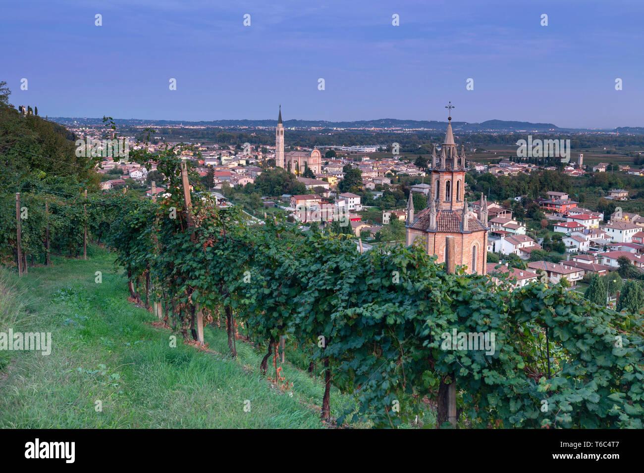 Italy, Veneto. Prosecco Road. Treviso district. Farra di Soligo. Chiesa del Colle di San Martino Stock Photo