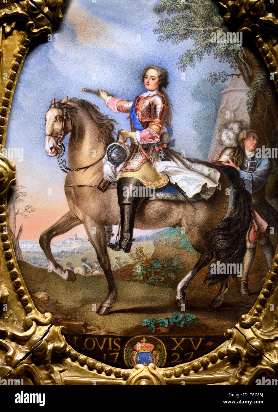 King Louis XV  1710 – 1774, known as Louis the Beloved, monarch of the House of Bourbon, ruled as King of France from 1 September 1715 until his death in 1774. France, French,( Enamel painted on copper, carved and gilded wooden frame ) after a portrait Charles André van Loo - Carle van Loo 1705 -1765, - Stock Image