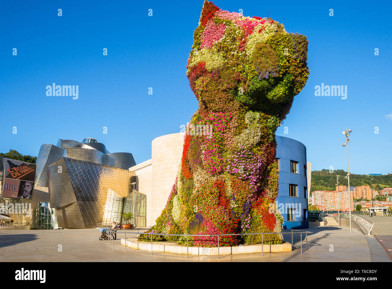 Dog from flowers in the mid town of Bilbao Stock Photo