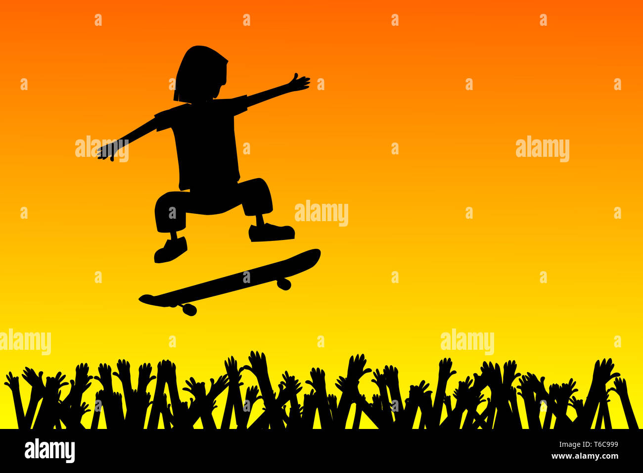 Skateboarder jumping over people - Stock Image