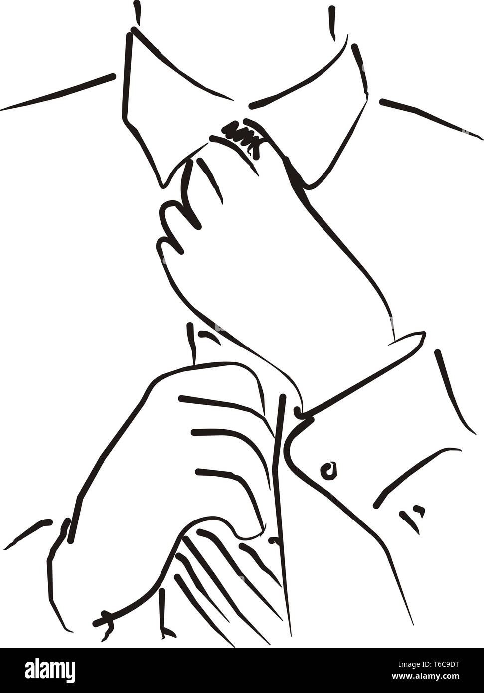 A quick sketch of a young businessman correcting a tie. This is a vector file. The zip folder includes cdr, eps and ia files alongside the jpg file. - Stock Image