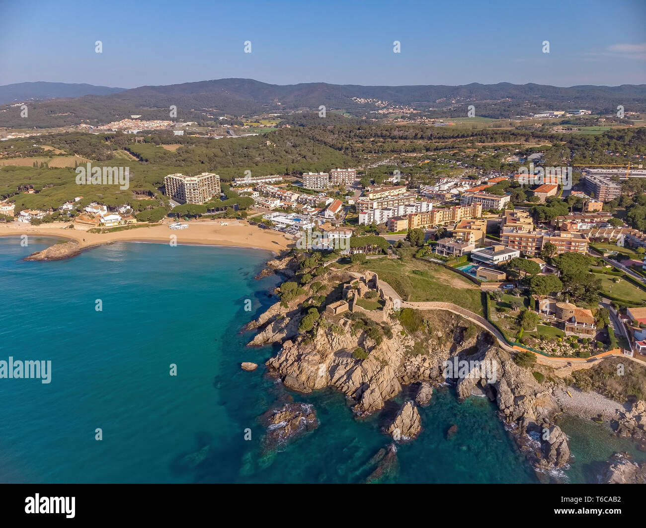 Drone picture over the Costa Brava coastal, small village La Fosca of Spain - Stock Image