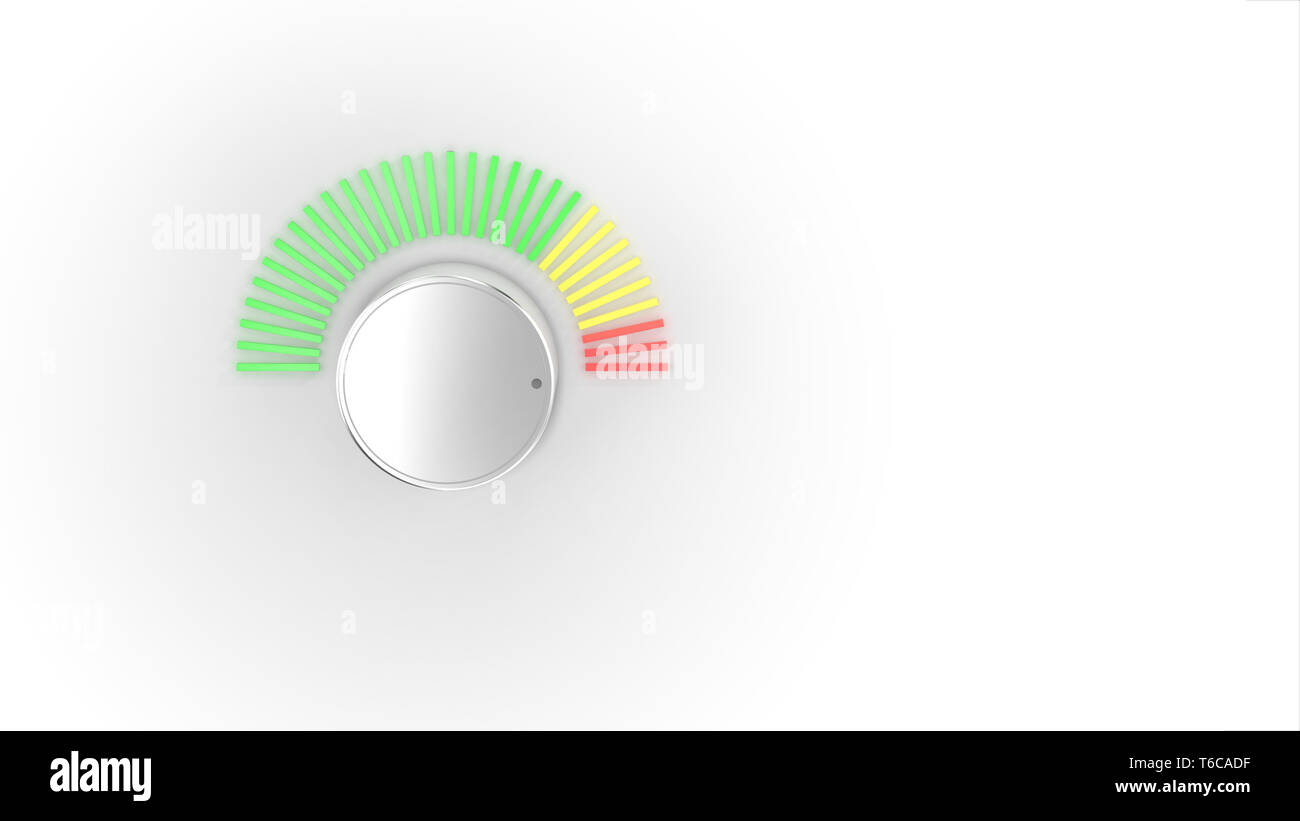 A chrome audio volume knob turning up with a green, yellow, and red spectrum LED light meter over a bright white background.  3D Illustration. - Stock Image