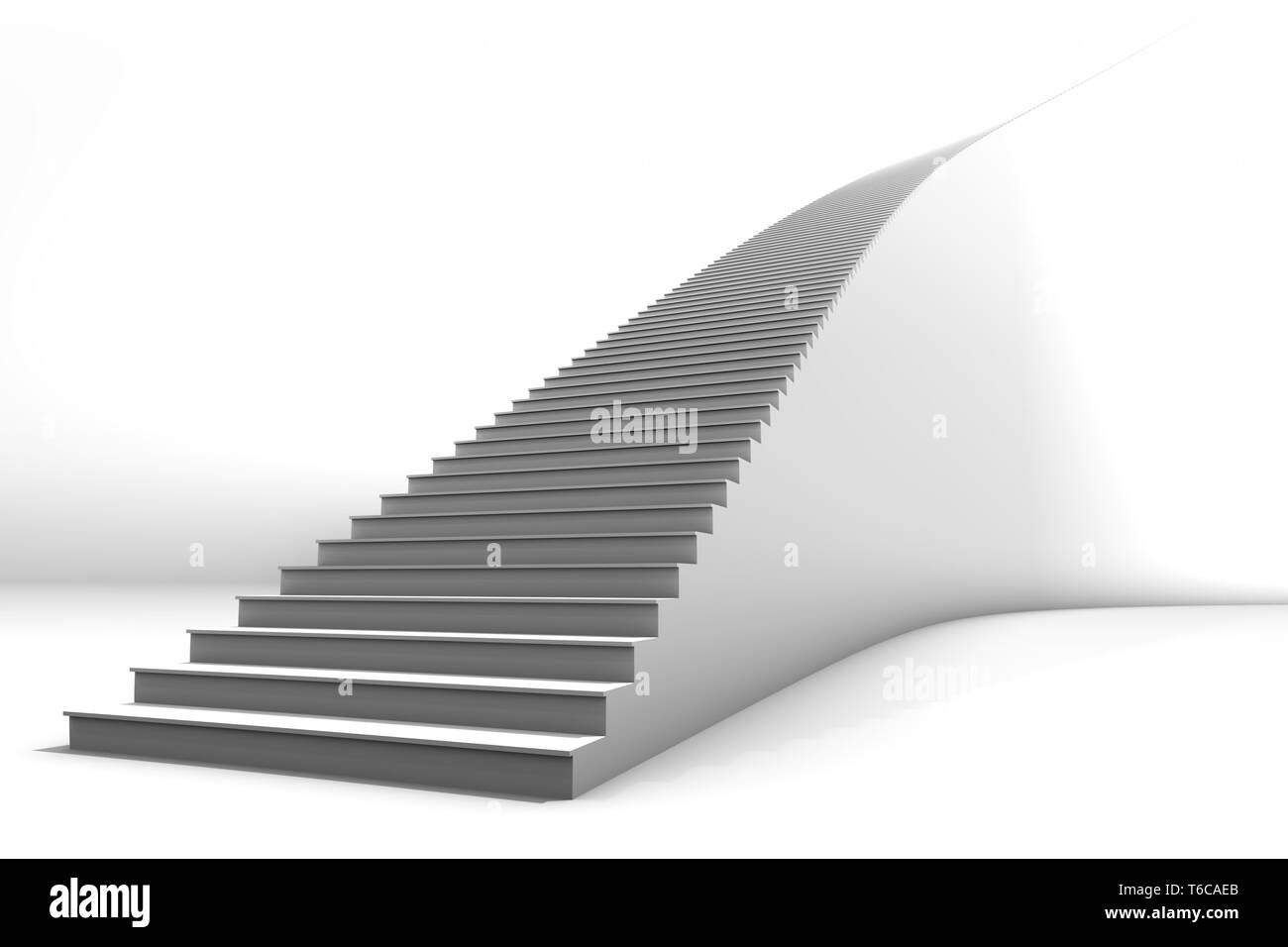 A tall white curved staircase on bright white background.  Lots of negative space for copy and graphics.  Great for business growth or conceptual appl - Stock Image
