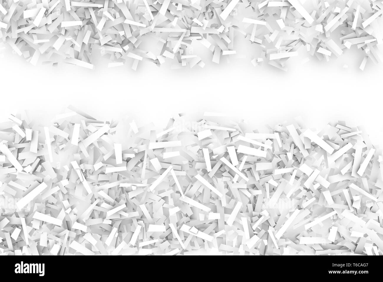 A tangled pile of white geometric confetti shapes on a bright background.  3D illustration.  Space for text upper third. - Stock Image