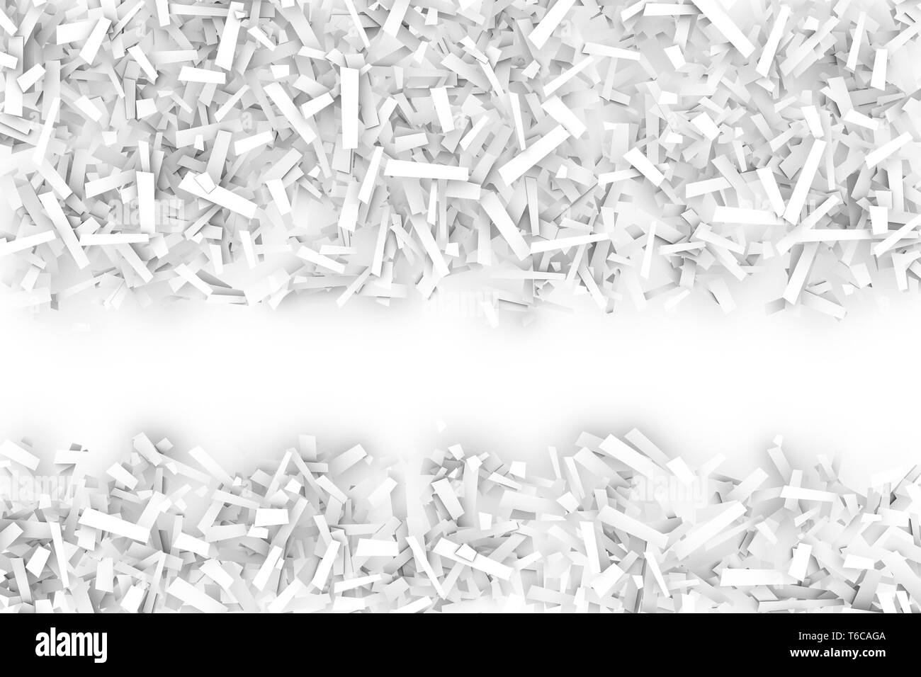 A tangled pile of white geometric confetti shapes on a bright background.  3D illustration.  Space for text lower third. - Stock Image