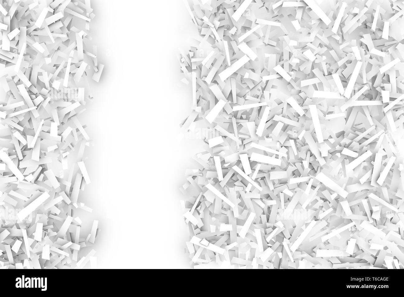 A tangled pile of white geometric confetti shapes on a bright background.  3D illustration.  Space for text left. - Stock Image