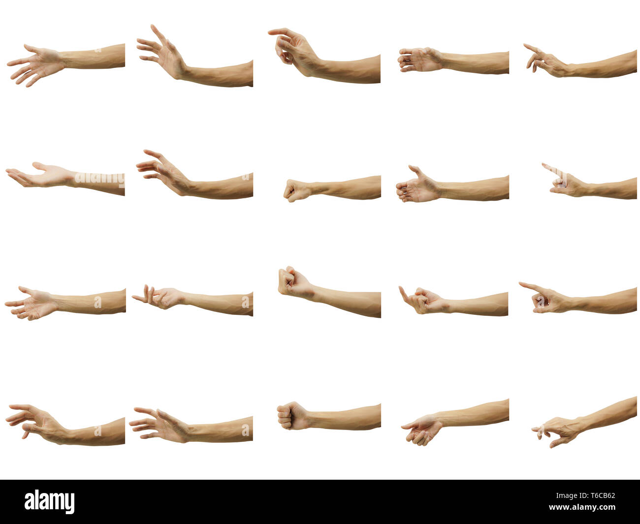 Multiple of man's hand gesture isolated on white background. Carefully cut out by pen tool and insert a clipping path. - Stock Image