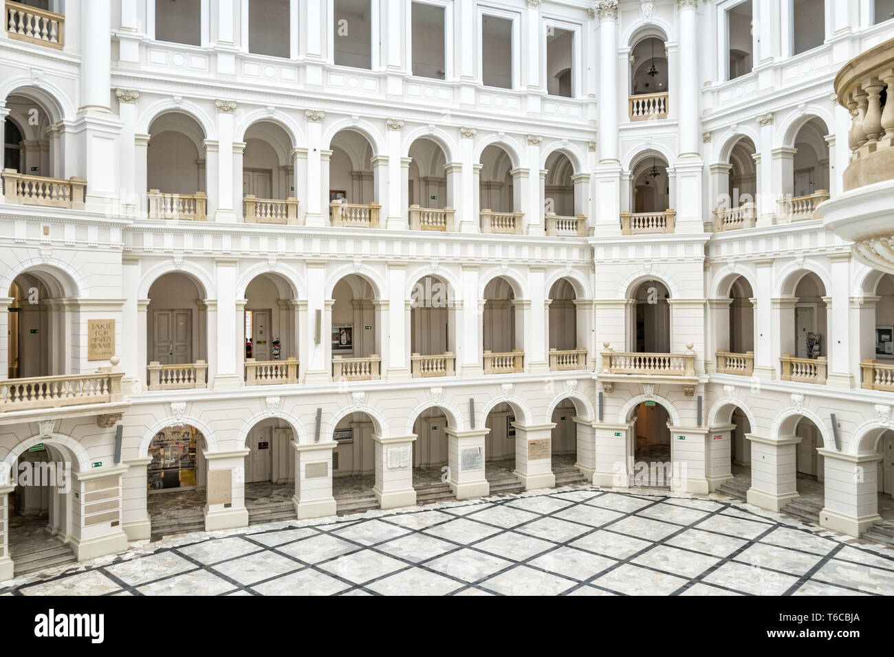 Courtyard of the Warsaw University of Technology in Warsaw, Poland. Stock Photo