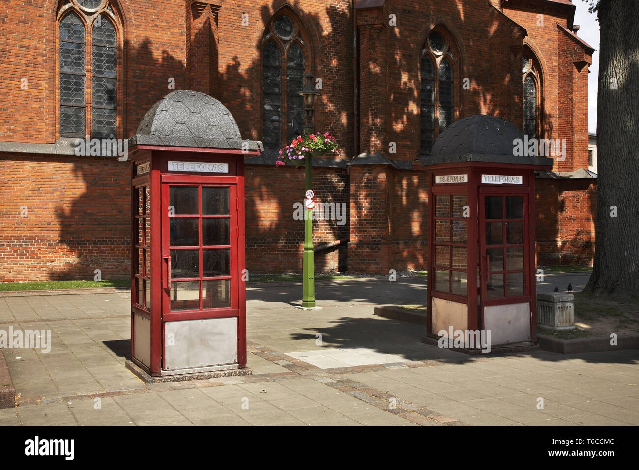 Telephone booth on Vilniaus street in Kaunas. Lithuania - Stock Image