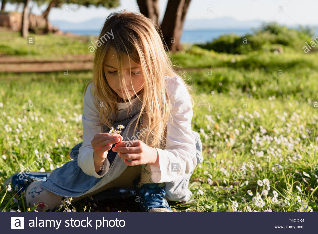 Young girl with blonde hair picking wild flowers in a park next to the sea shore Stock Photo
