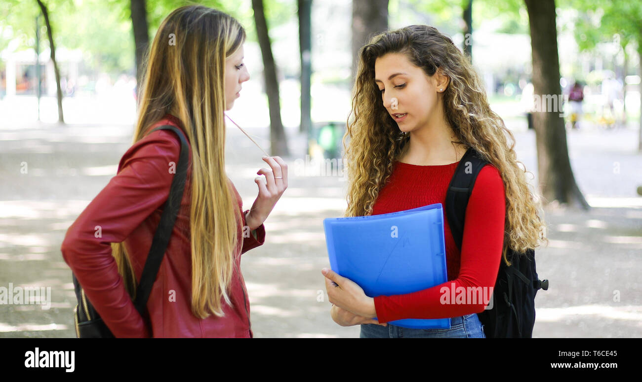 Two female schoolmates talking in a college courtyard Stock Photo