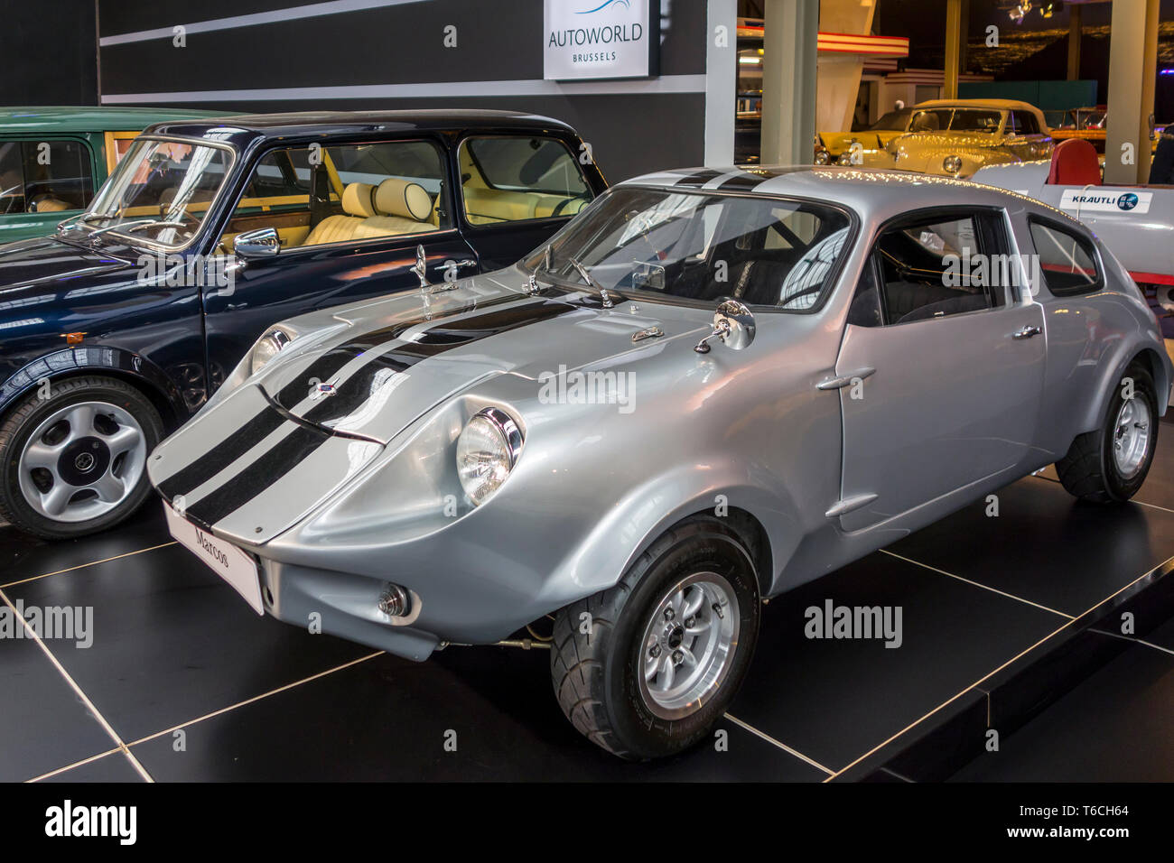 1974 Mini Marcos Mark IV / MK4, British classic 2-door coupé sports car at Autoworld, vintage car museum in Brussels, Belgium - Stock Image