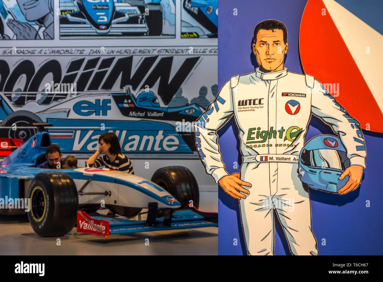 Comic strip character Michel Vaillant, French racing car driver who competes in Formula One at Autoworld, automobile museum in Brussels, Belgium Stock Photo