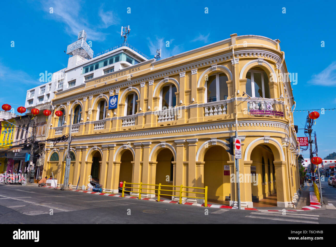 The Chartered bank, in Sino-Portuguese style, houses Peranakannitat Museum, old town, Phuket town, Thailand Stock Photo