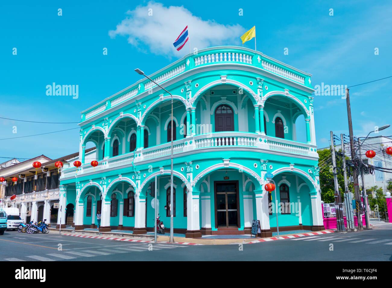 Restored Sino-Portuguese colonial architecture, corner of ebuk and Yaowarat Roads, old town, Phuket town, Thailand Stock Photo