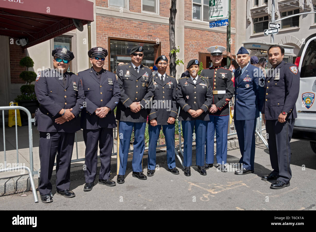 Sikh police & corrections officers and soldiers pose prior to the Sikh Day Parade in Manhattan, New York City. Stock Photo