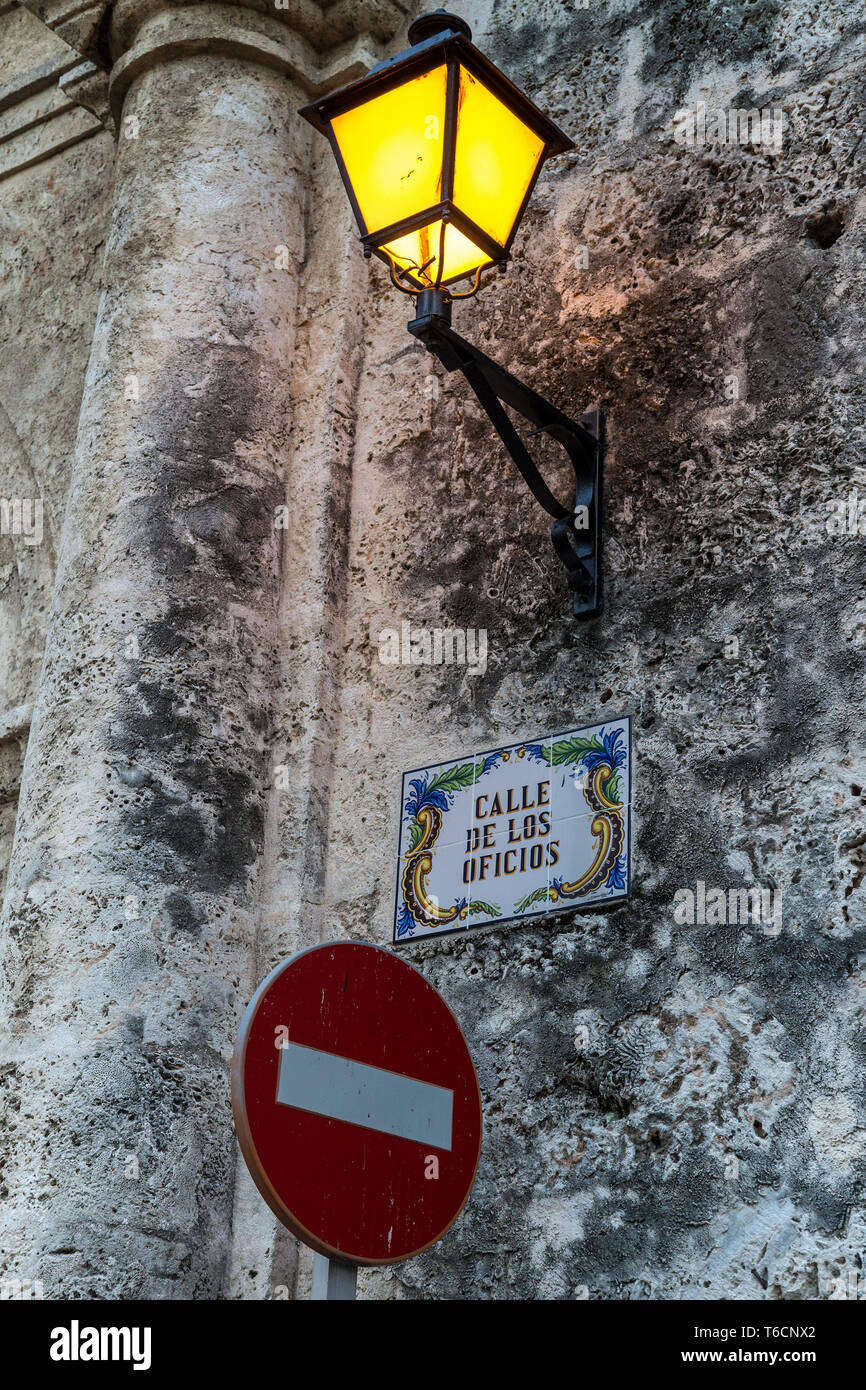 Lantern and 'No entry sign - Stock Image