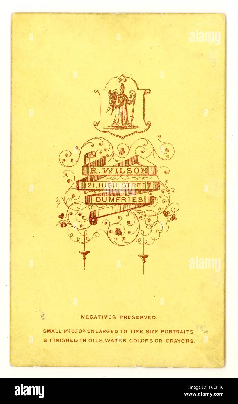 Reverse of Edwardian carte de visite (CDV)  showing photographer's promotional material, studio of R. Wilson, Dumfries, Scotland, U.K., circa 1860's  U.K. - Stock Image