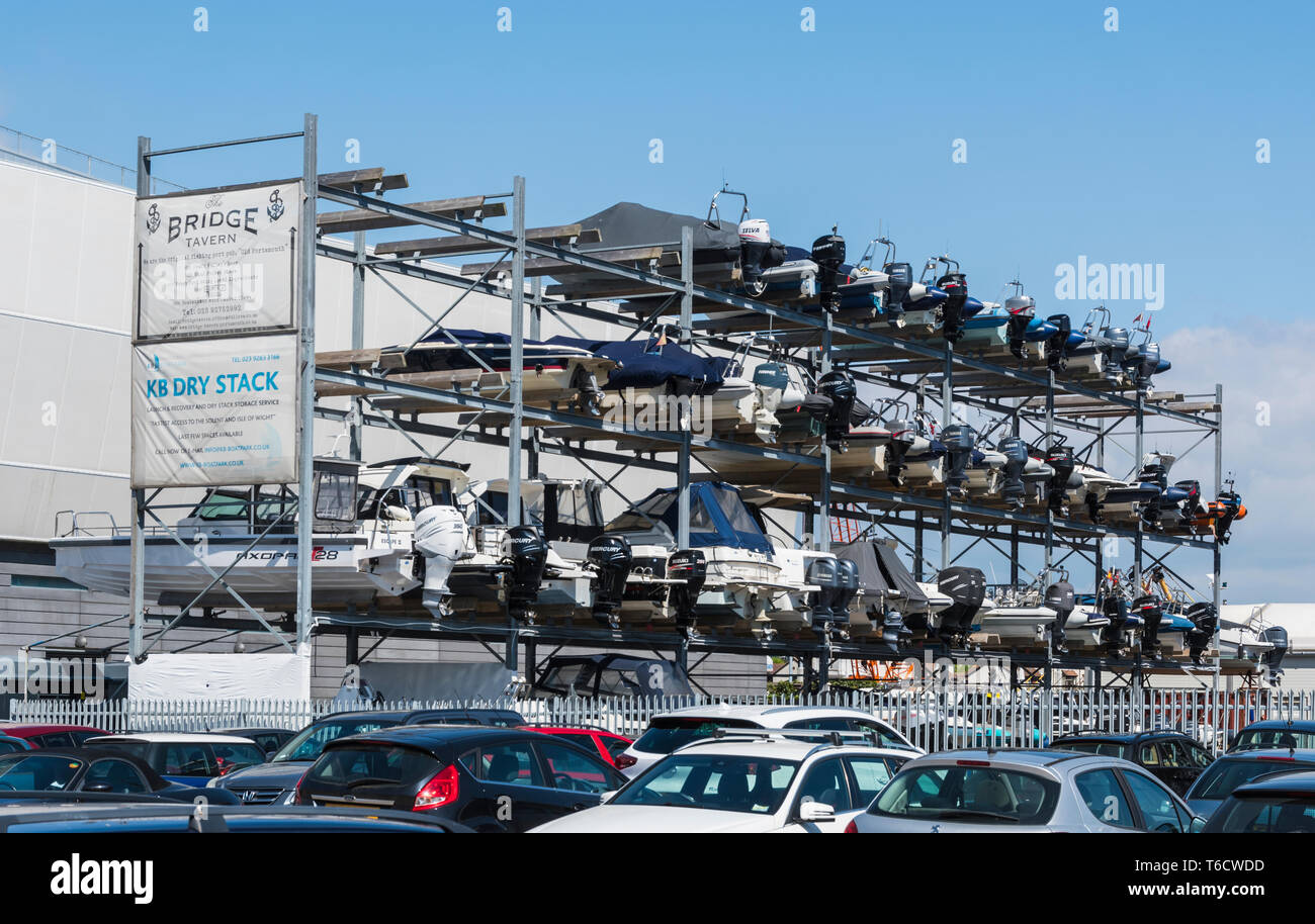 KB (Ken Brown) Boat Park Dry Stack, a dry dock boat stack on land in Portsmouth, Hampshire, England, UK. - Stock Image