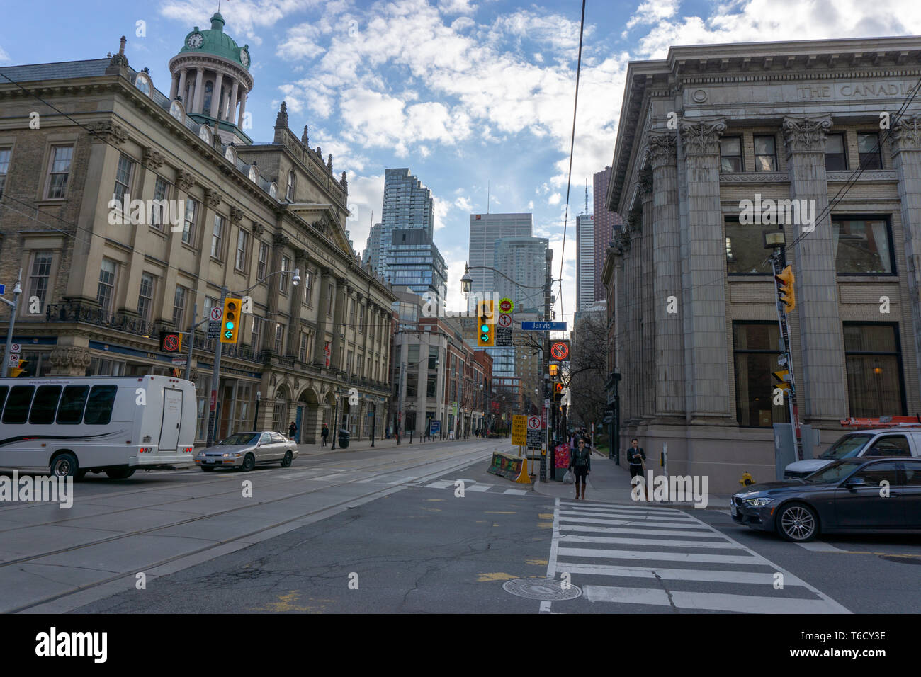 The intersection of King & Jarvis st belongs to the Old Town - the first neighborhood of Toronto. There are plenty of must-see historical buildings! - Stock Image