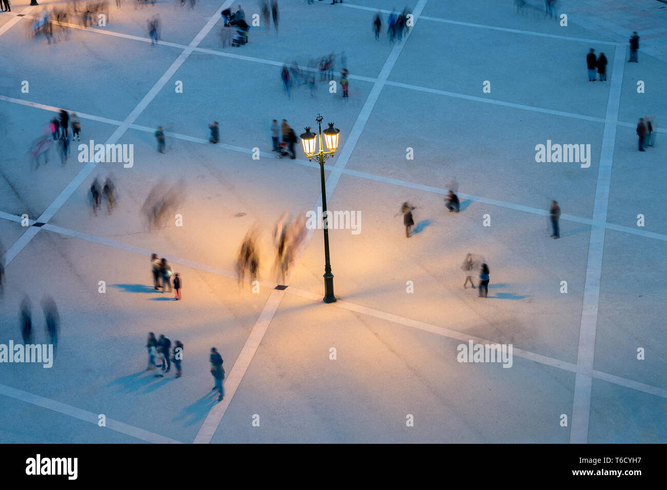People motion blur aerial view - Stock Image