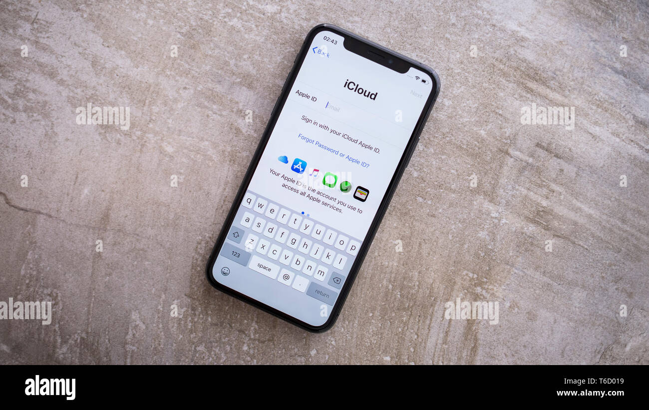 Apple Iphone XS Space Gray Screen with Apple iCloud Settings - Stock Image