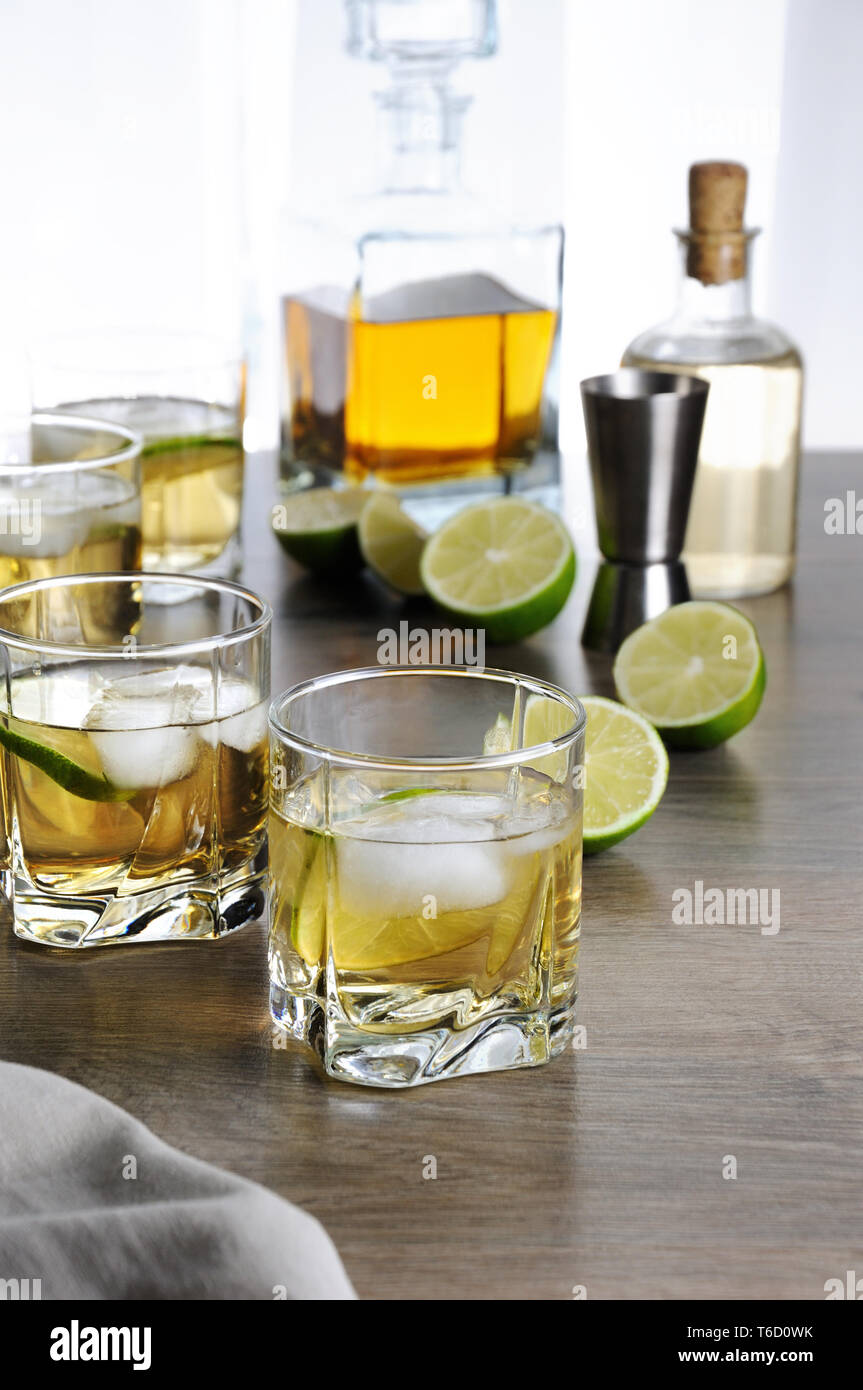 Alcohol Cocktail With Brandy Whiskey Or Rum With Ginger Ale Lime