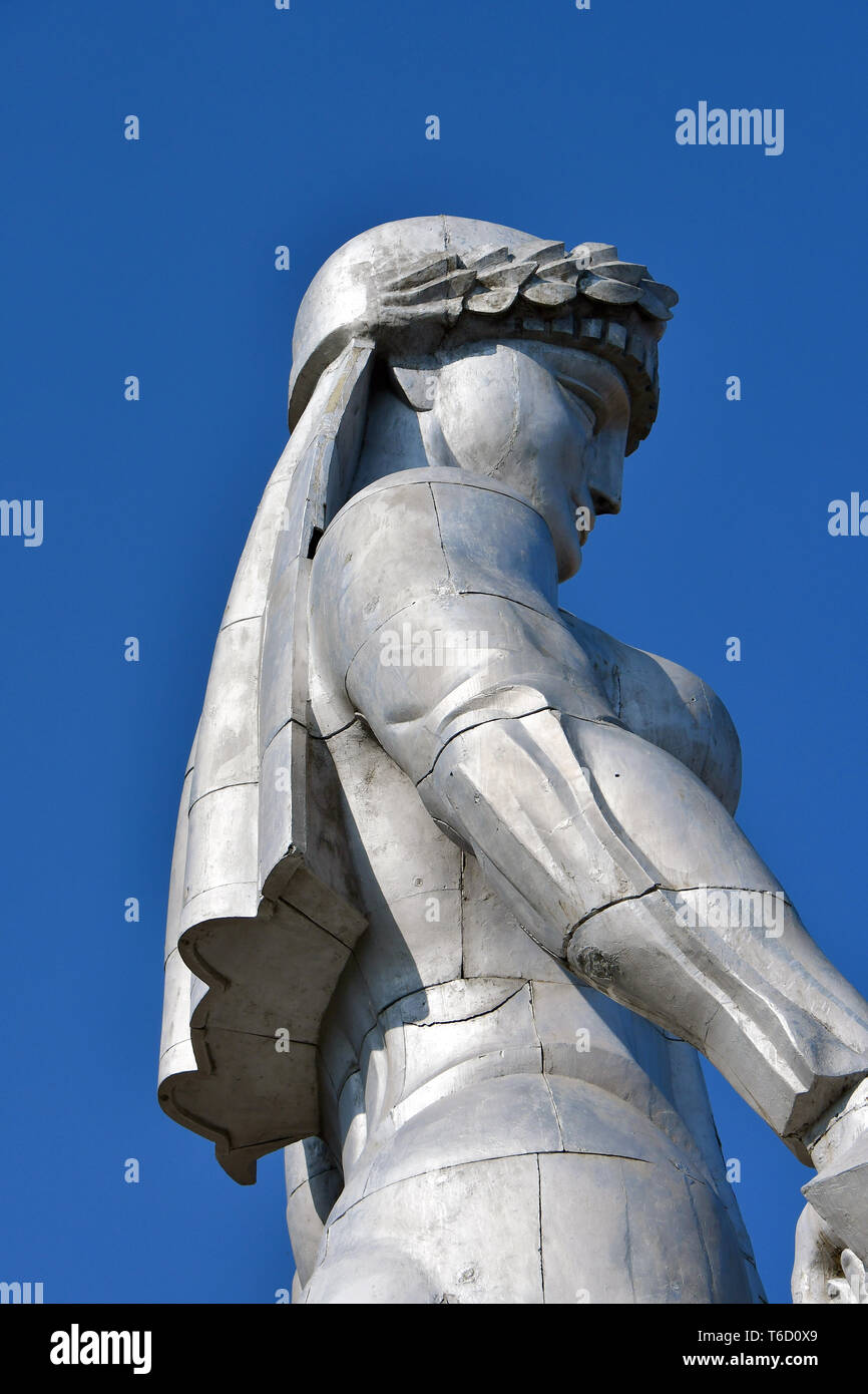 The aluminium statue of Kartlis Deda, Mother Georgia, Tbilisi, Georgia Stock Photo