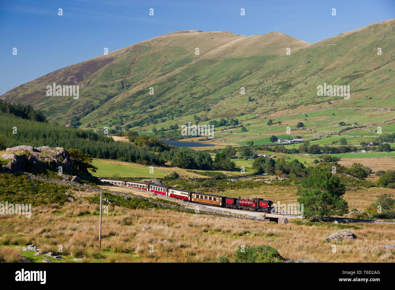 NGG16 2-6-2+2-6-2T Garratt No.138 winds its way out of Rhyd Ddu with the afternoon service from Porthmadog to Caernarfon - Stock Image