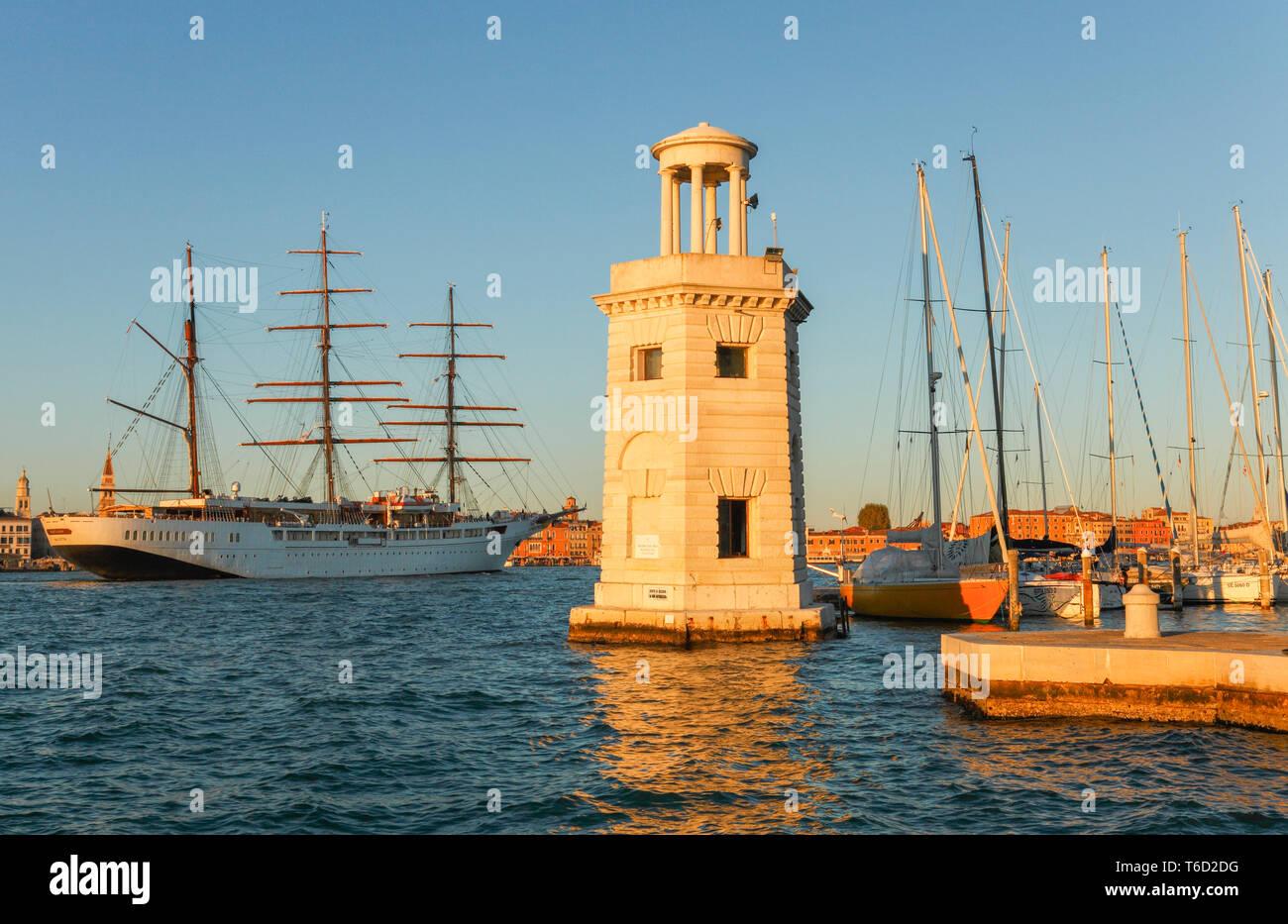 Cruise Ship  'Star Clipper'  and the Marina Compagnia della Vela San Giorgio, Venice, Veneto, Italy. - Stock Image