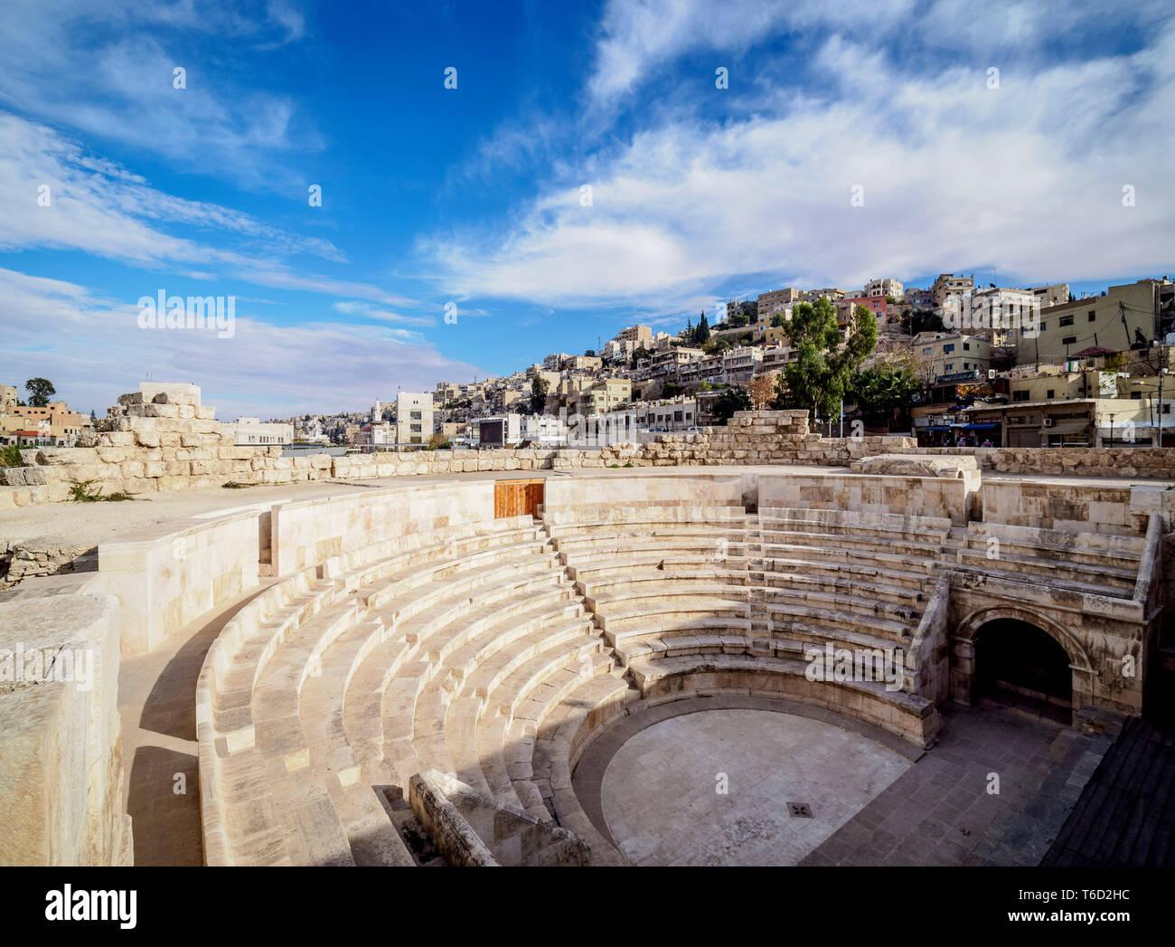 Roman Odeon Theater, Amman, Amman Governorate, Jordan - Stock Image