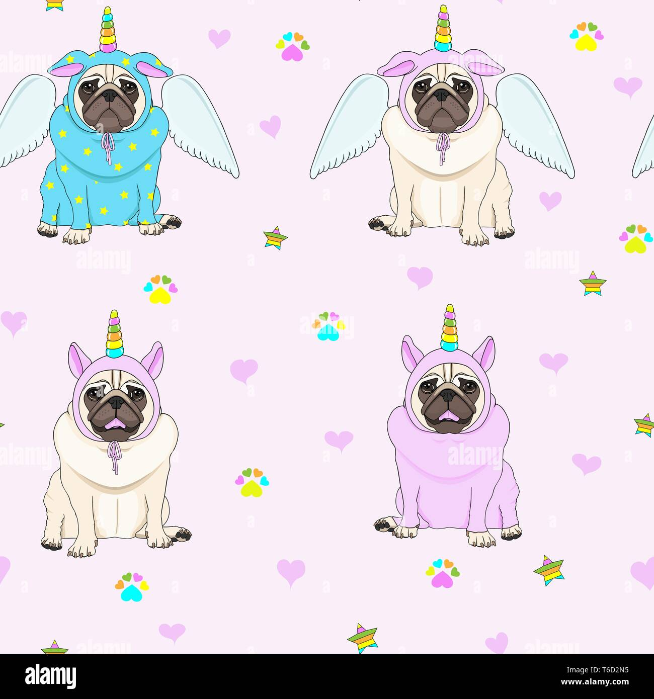 cute seamless pattern with unicorn pug dogs, paw print, stars and hearts, transparent background Stock Vector