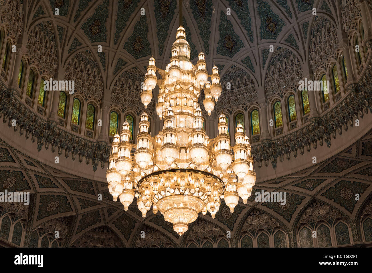 Oman, Muscat, the Swarovski crystal chandelier inside the main prayer hall of the Sultan qaboos grand mosque - Stock Image