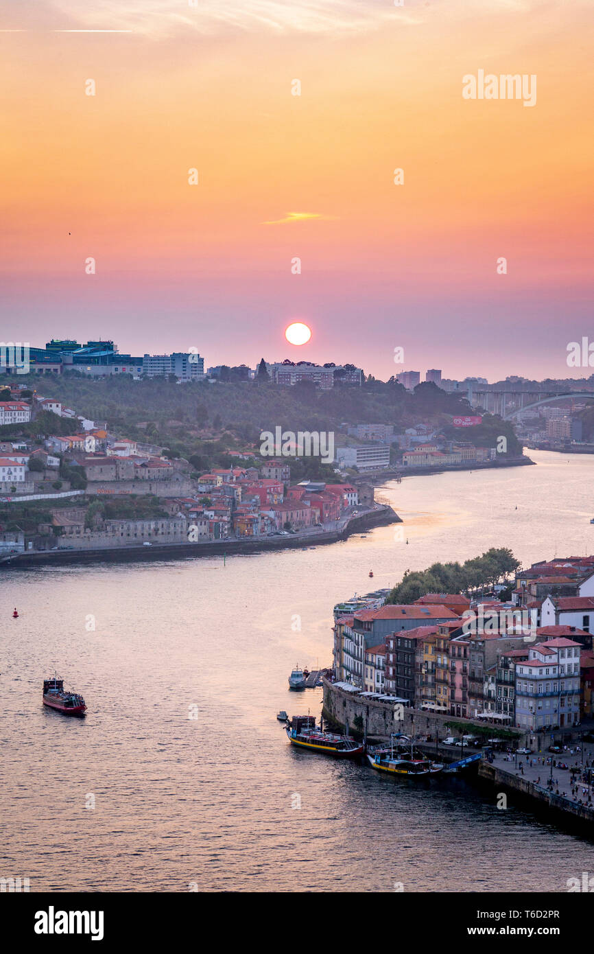 Douro River and Porto at sunset, Portugal, Europe - Stock Image