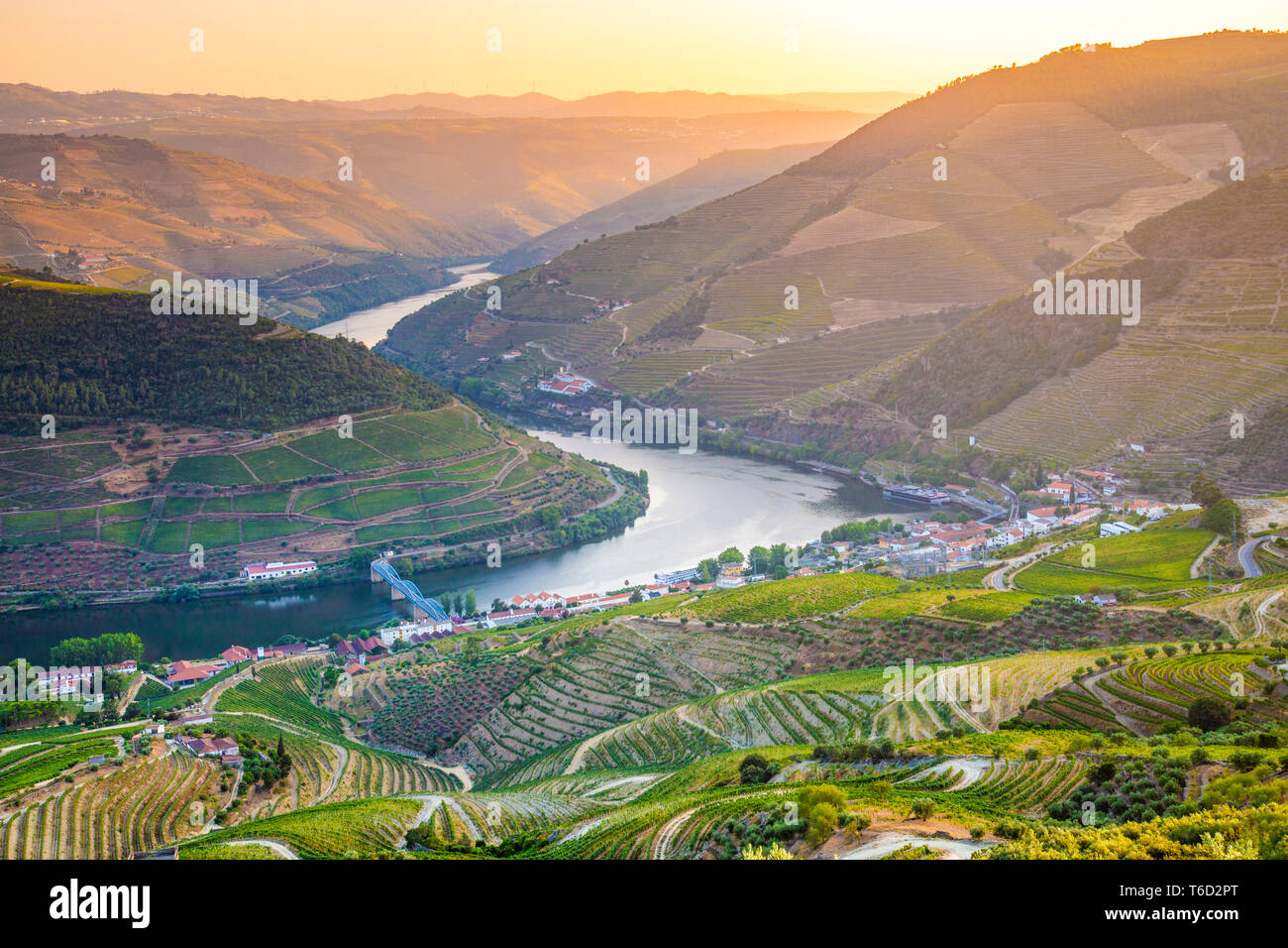 Portugal, Douro river at sunset, Terraced vineyards - Stock Image