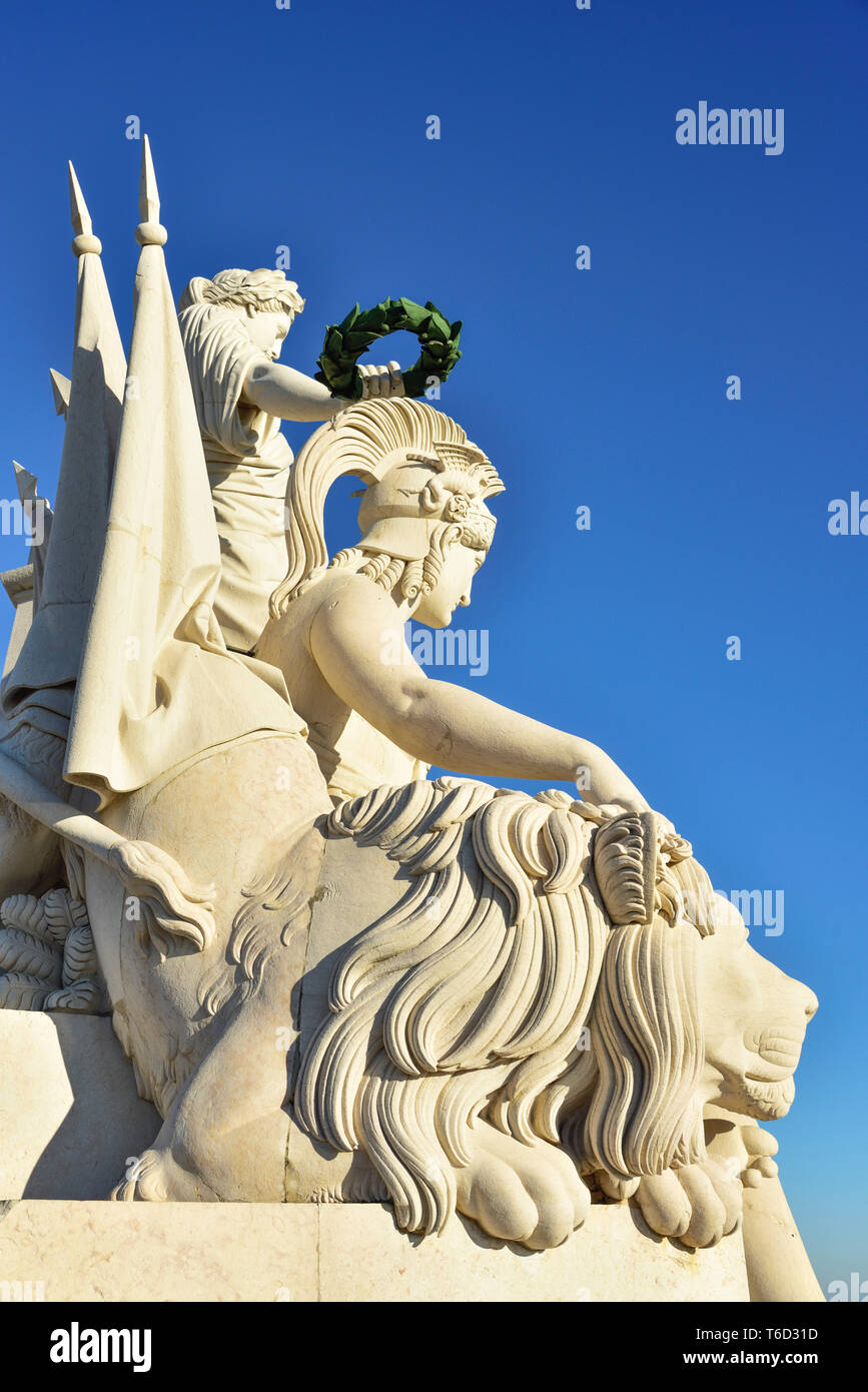 Detail of the Rua Augusta Arch at the Terreiro do Paco one of the centers of the historic city facing the Tagus river. Lisbon, Portugal - Stock Image