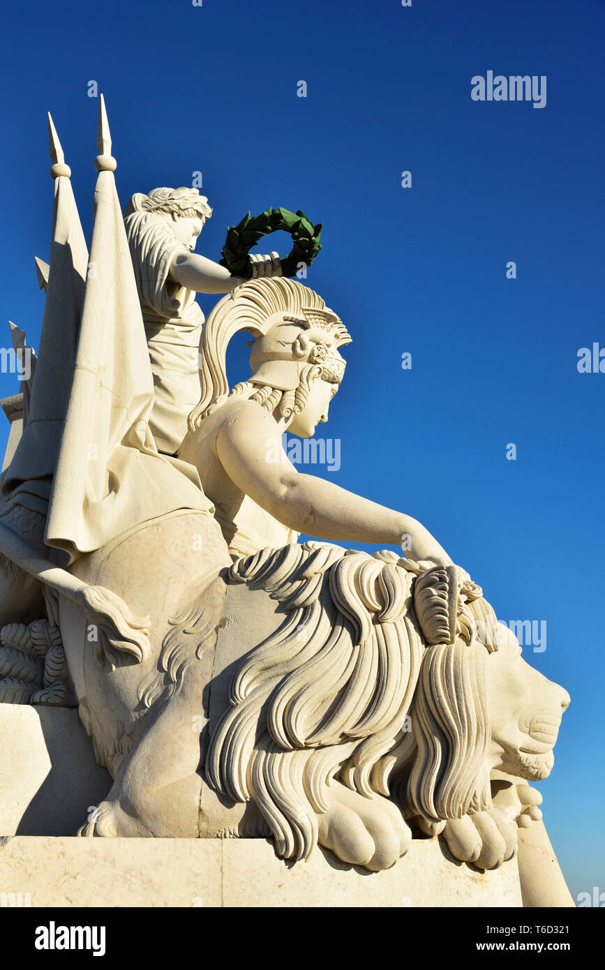 Detail of the Rua Augusta Arch at the Terreiro do Paco (Praca do Comercio) one of the centers of the historic city facing the Tagus river. Portugal - Stock Image