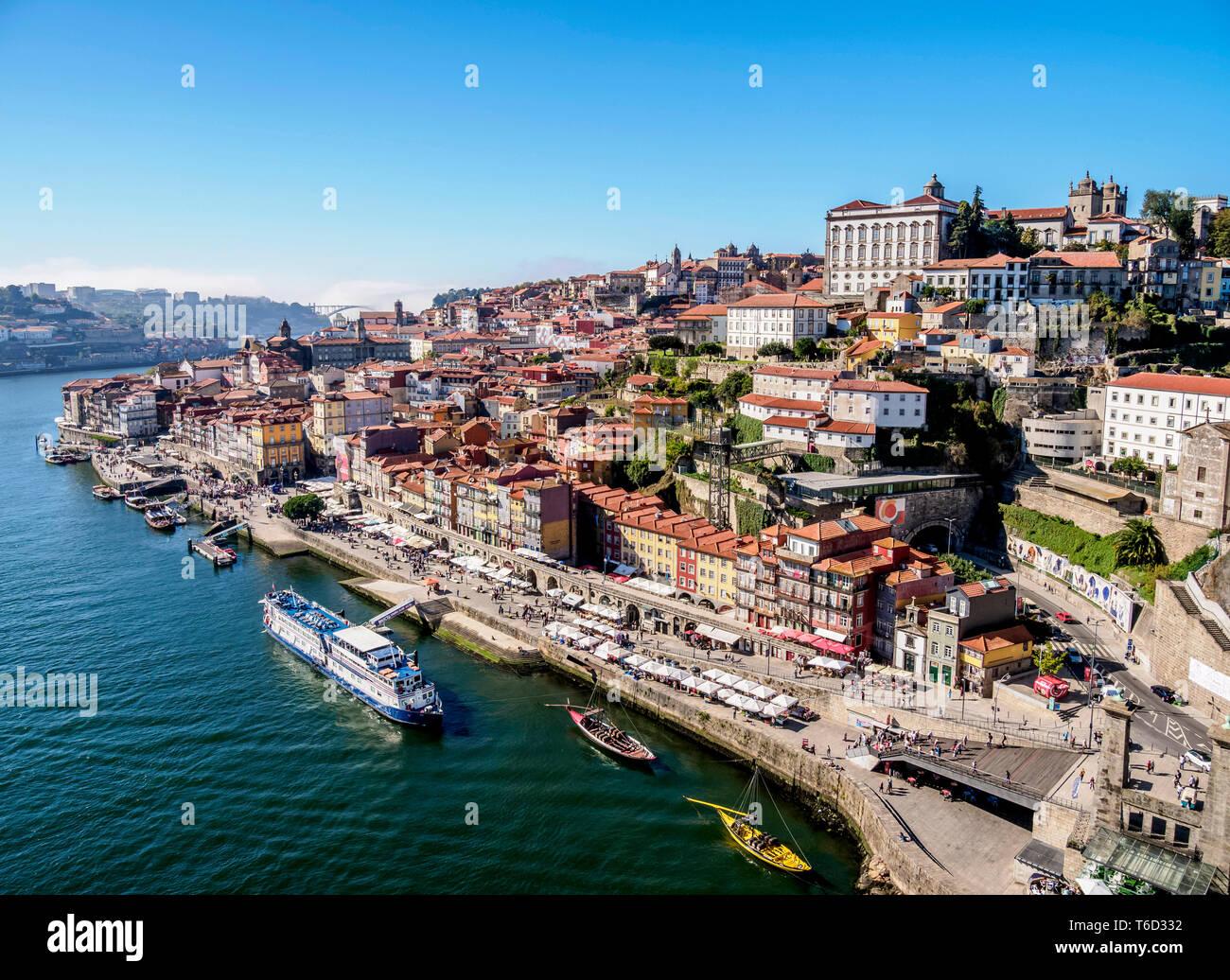 Douro River and Cityscape of Porto, elevated view, Portugal - Stock Image