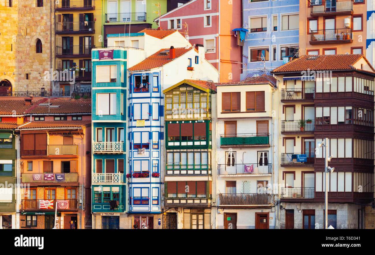 Spain, Vizcaya Province, Basque Country, Bermeo, harbour, close-up of buildings - Stock Image