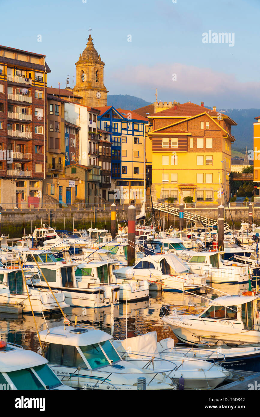 Spain, Vizcaya Province, Basque Country, Bermeo, boats moored in harbour Stock Photo