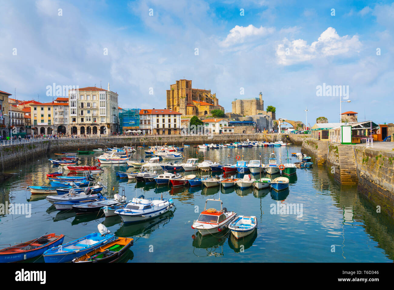 Spain, Cantabria, Castro-Urdiales, harbour, Santa Maria church and Santa Ana castle Stock Photo
