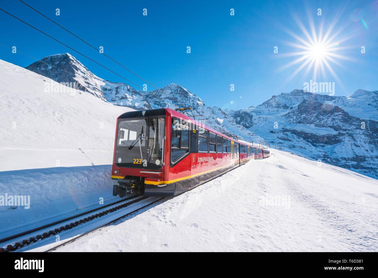 Train to Jungfraujoch, Kleine Scheidegg, Berner Oberland, canton of Bern, Switzerland. - Stock Image
