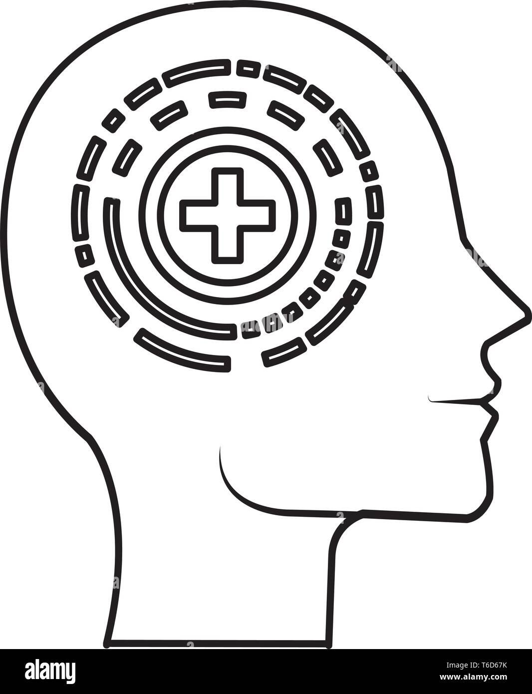 head profile with pluss symbol - Stock Image
