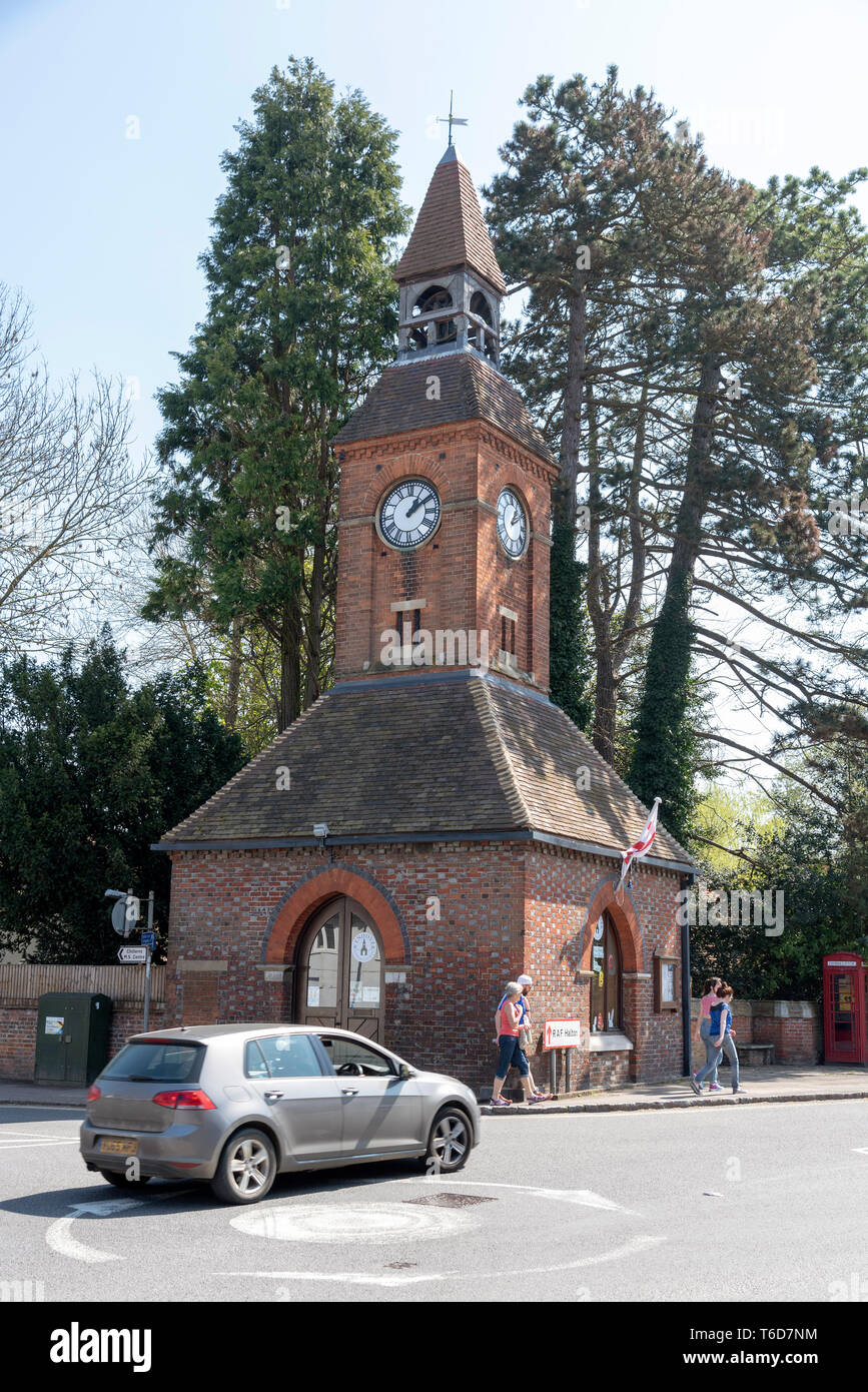 Wendover, Buckinghamshire, England, UK. April 2019. A market town in the Chiltern Hills area with a Clock Tower dating from 1842. - Stock Image