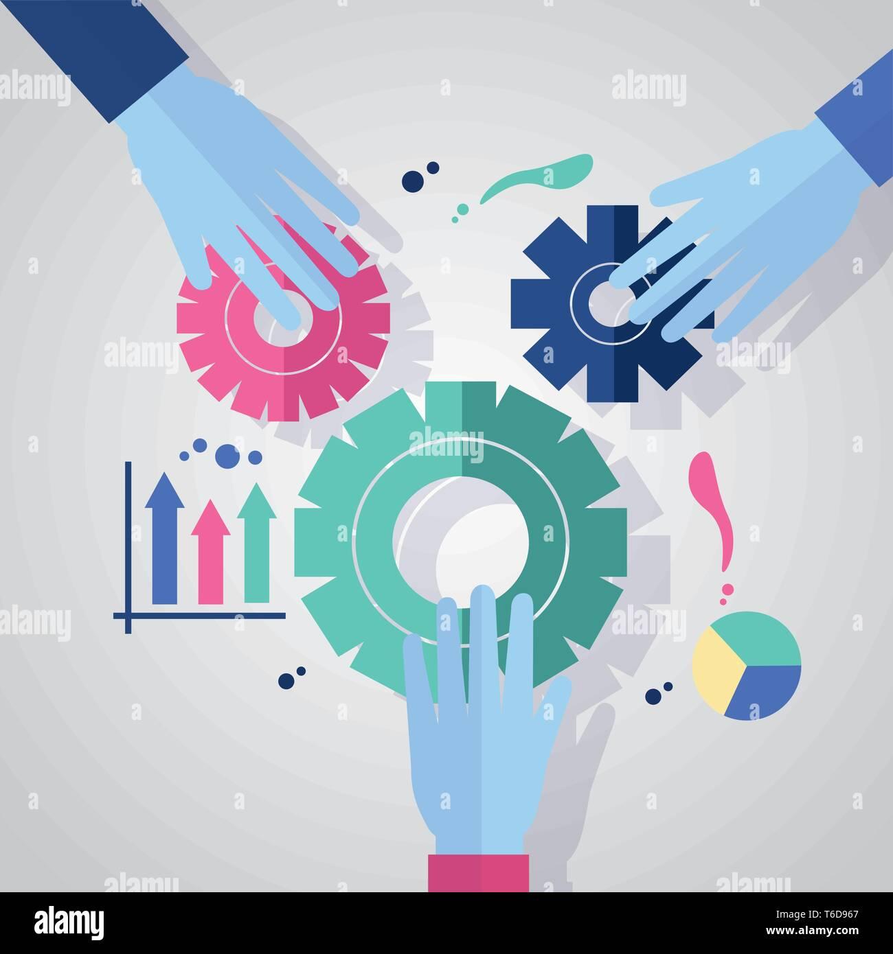 hands gears pieces team Stock Vector