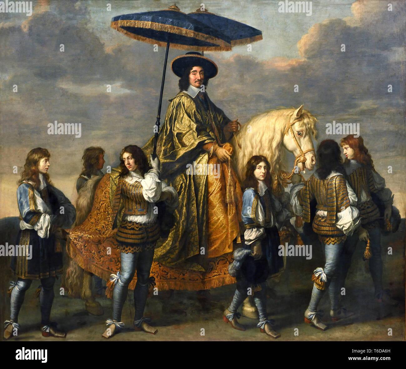 Portrait équestre de Pierre Séguier - Pierre Séguier (1588-1672), Chancellor of France 1660 (1588-1672), Chancellor of France 1660 by Charles LE BRUN 1619 - 1690, Paris ,French, France. - Stock Image