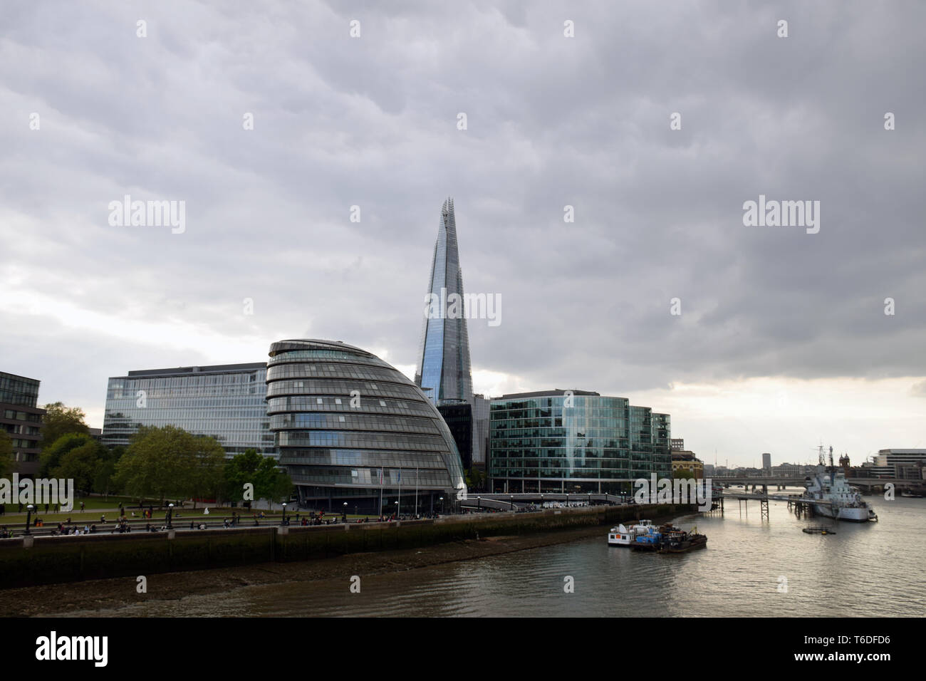 London skyline, April 2019 UK. GLA building & The Shard - Stock Image